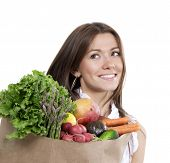 Woman With Supermarket Shopping Bag Full Of Groceries Fruits And Vegetables