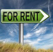 For rent road sign renting a house apartment or other real estate sign. Home to let