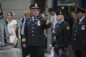 Retired fire fighters in dress uniforms