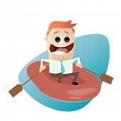 funny businessman with rubber boat