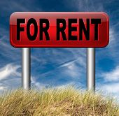 house for rent sign, renting a flat, room apartment or other real estate sign. Home to let