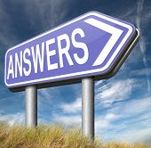 find answers indicating way to solve problems answer road sign search answer and discover truth text and word concept