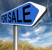 For sale road sign, selling a house apartment or other real estate label. Buy online at internet web