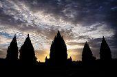 Silhouette of Prambanan Temple in Sunset Light
