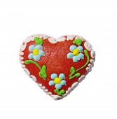 Colorful Gingerbread With Shape Of Heart Isolated