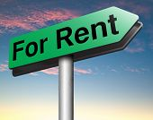 For rent sign, renting a house apartment or other real estate sign. Home to let