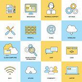 Web Flat Line Icons