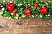 Christmas Decoration Red Green Gold Over Wooden Background