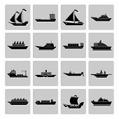Ship and Boats Icons Set