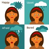Cartoon woman character emotions icons composition
