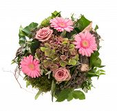 Bouquet Of Pink Flowers Roses And Daisy Isolated On White