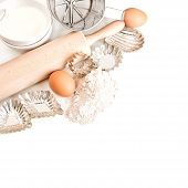 Flour, Eggs, Sugar, Rolling Pin. Baking Tools And Ingredients