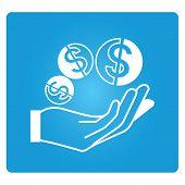 hand holding dollar coin