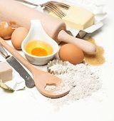 Eggs, Flour, Sugar, Butter, Yeast. Dough Preparation