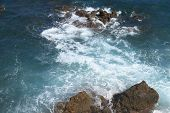 Rocky Coastline On The Mediterranean Sea Of Antibes