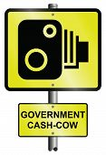 stock photo of cash cow  - Scandalous government cash cow revenue road speed camera signs - JPG