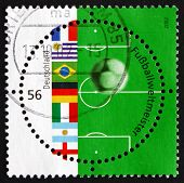 Postage Stamp Germany 2002 Flags, Soccer Ball And Field