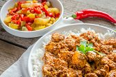 image of chinese parsley  - Indian Butter Chicken On The Wooden Table - JPG