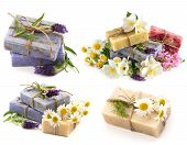 Soap Bars With Fresh Lavender, Jasmine And Chamomile Flowers