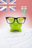 Piggy Bank With Canadian Province Flag On Background - Manitoba