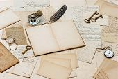 Old Letters, Antique Accessories And Office Tools