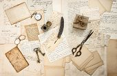 foto of old post office  - old letters and antique office supplies - JPG