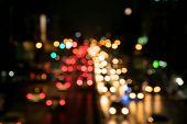 Street lights blurred background.