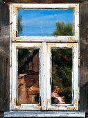 Old white window frame