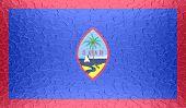 Guam flag on metallic metal texture