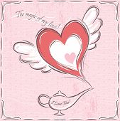 Pink Valentine Card With Heart  And Magic  Lamp