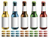 picture of liquor bottle  - Digital illustration of beer bottles with blank labels - JPG