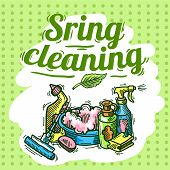image of spring-cleaning  - Beautiful hand drawn doodle illustration spring cleaning - JPG