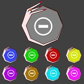 Minus Sign Icon. Negative Symbol. Zoom Out. Set Colourful Buttons Vector