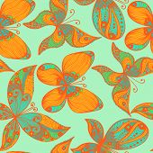 picture of blue butterfly  - Blue and orange hand drawn seamless background with butterflies - JPG