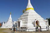 People pray at the Wat Phra That Doi Kong Mu temple in Mae Hong Son, Thailand.