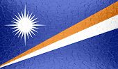Marshall Islands flag on metallic metal texture
