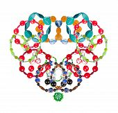 Set Of Bracelets Have Been Laid Out In A Heart-shaped. Collage