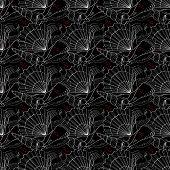 Seashells Seamless Pattern. Black