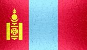 picture of mongol  - Closeup of Mongolia flag on metallic metal texture - JPG