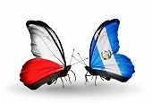 Two Butterflies With Flags On Wings As Symbol Of Relations Poland And Guatemala