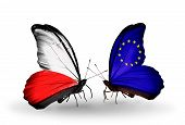 Two Butterflies With Flags On Wings As Symbol Of Relations Poland And European Union