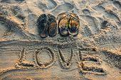 Sand writing love