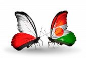 Two Butterflies With Flags On Wings As Symbol Of Relations Poland And Niger