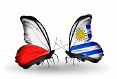 Two Butterflies With Flags On Wings As Symbol Of Relations Poland And Uruguay