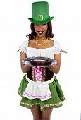 Waitress in St Patrick's Day Attire