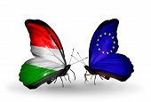 Two Butterflies With Flags On Wings As Symbol Of Relations Hungary And European Union