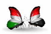 Two Butterflies With Flags On Wings As Symbol Of Relations Hungary And Yemen