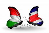 Two Butterflies With Flags On Wings As Symbol Of Relations Hungary And Costa Rica