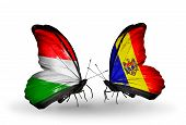Two Butterflies With Flags On Wings As Symbol Of Relations Hungary And Moldova