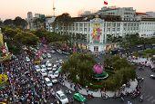 HO CHI MINH CITY, VIETNAM, January 29, 2014: Rex Hotel at Lunar New Year
